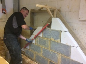 Bricklaying student, Derren is getting some new skills to build a house!